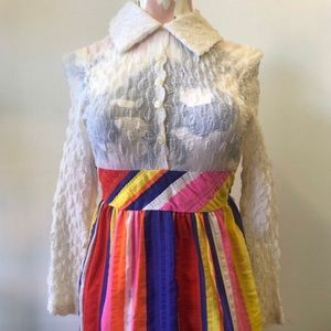 Dresses & Skirts - 1960s Collared Psychedelic Rainbow Dress